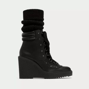 Zara Leather Studded Wedge Combat Boot